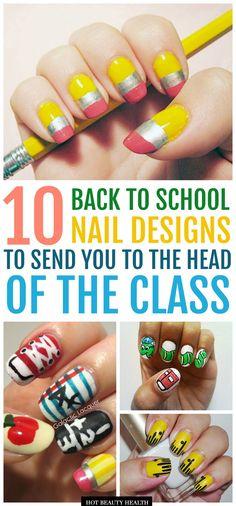 10 cute DIY back to school nail art design ideas that will make you miss the classroom! #hotbeautyhealth #nailart #backtoschoolbeauty #diynails #diymani