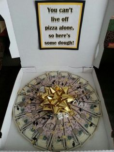 Money pizza I made for my sons graduation. Very easy to make