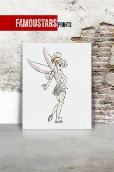 tinker bell fairy Disney fairies Poster Watercolor by FamouStars Book Cover, Art Decor, Watercolor Print, Disney Fairies, Disney Art, Art, Digital Prints, Poster, Prints