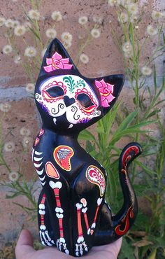sugar skull cat Day of the Dead Dia de los muertos Crazy Cat Lady, Crazy Cats, Fall Halloween, Halloween Crafts, Halloween Wishes, Halloween Decorations, Cat Skeleton, Totenkopf Tattoos, Mexican Art