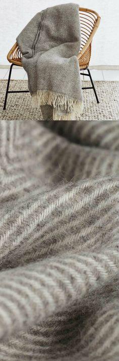 Grey wool Gotland blanket by URBANARA
