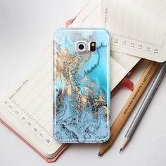 Blue Gold Marble Galaxy Case Samsung Galaxy S6 от PinkPiggyStudio