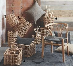 ROOST WATER HYACINTH BASKETS - Water hyacinth is intricately woven around sturdy wire framework to create this beautiful and practical collection of nested baskets.