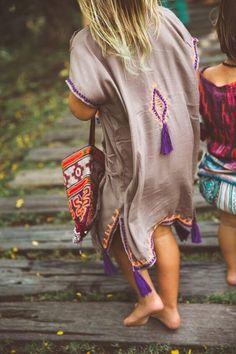 - Cotton kaftan dress - Fringed trim detail - Fabric is selected and sewn by… Abaya Fashion, Boho Fashion, Kids Fashion, Fashion Outfits, Fashion Design, Bohemian Mode, Bohemian Style Clothing, Bohemian Baby, Poncho Dress