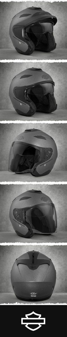 3-in-1. The removable visor peak and face shield provide three unique ways to wear it. | Harley-Davidson Men's Maywood Interchangeable Sun Shield H27 3/4 Helmet