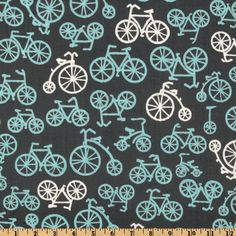 Michael Miller It's a Boy Thing Bicycles Grey from @fabricdotcom  Designed for Michael Miller Fabrics, this cotton print fabric is perfect for quilting and craft projects. Colors include blue and white bicycles on a grey background.