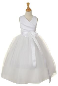 White Rouched Bodice in Wedding Satin with layers of fluffy tulle    http://flowergirlprincess.com/aberdeen-white-satin-and-tulle-flower-girl-dress-p-1716.html