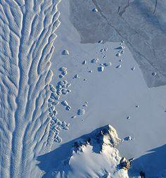 The Matusevich glacier flows toward the coast of east Antarctica