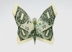 Money origami. Cute way to give $ as a gift.
