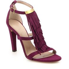 Chloe Suede Fringed Sandals (€755) ❤ liked on Polyvore featuring shoes, sandals, sapatos, apparel & accessories, purple, purple shoes, ankle wrap shoes, purple sandals, block heel shoes and fringe sandals