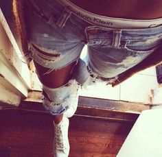 jeans ripped jeans calvin klein underwear white shoes