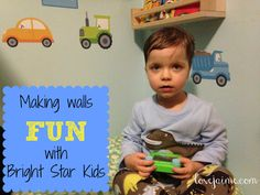 Bright Star Kids brightening up rooms (and my son's wardrobe) - specializing in personalized wall stickers! #BrightStarKids #spon