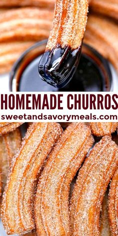Churros are best made at home to ensure their delicious crispness and freshness! #churros #sweetandsavorymeals Donut Recipes, Best Dessert Recipes, Easy Desserts, Mexican Food Recipes, Sweet Recipes, Delicious Desserts, Yummy Food, Eggless Desserts, Recipes Dinner