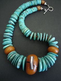 Huge Tibetan Turquoise Discs & African 'Amber' Necklace. $495.00, via Etsy.