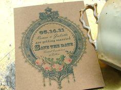 save the dates vintage label elegant wedding by sweetcookie, $50.00