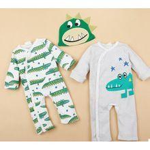 Yenidoğan bebek uzun kollu tulum bahar tarzı giysi karikatür tulum giyim seti( 2romper+1hat) 3pcs bebek bebek tulum