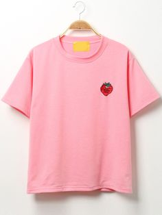 Strawberry Embroidered Pink T-shirt Mobile Site