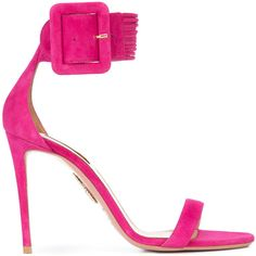 Aquazzura Pink Casablanca Sandals ($750) ❤ liked on Polyvore featuring shoes, sandals, pink, pink shoes, ankle strap sandals, ankle wrap sandals, open toe stilettos and pink sandals