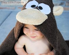 Monkey Hooded Towel from Crazy Little Projects, as seen on DailyDoItYourself.com