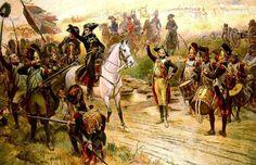 Napoleone annuncia ai suoi soldati l'arrivo dei rinforzi durante la battaglia di Marengo