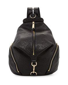 Julian Zipper-Trim Leather Backpack, Black by Rebecca Minkoff at Neiman Marcus.