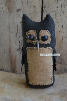 Primitive Halloween Decor | Primitive Handmade Stand Alone Folk Art Owl For Fall Halloween Decor ...