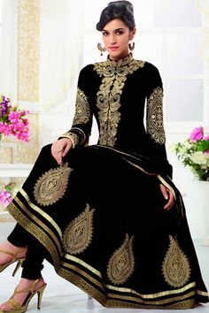 Kriti Sanon - Black Faux Georgette Anarkali Suit with Embroidered and Lace Work
