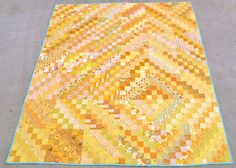 inspiration only.yellow scrappy trips around the world quilt Bargello Quilts, Jellyroll Quilts, Scrappy Quilts, Yellow Quilts, Colorful Quilts, Quilting Projects, Quilting Designs, Monochromatic Quilt, Scrap Quilt Patterns