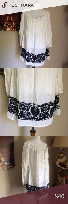 """J. Crew Peasant Embroidered White blouse top Bust pit to pit 21"""" Length 33"""". In Excellent Condition. J. Crew Longsleeve XS Embroidered black & white peasant blouse. Its tagged XS but looks like Large, anyways the measurement is above. No rip tear whole nor stain. J. Crew Tops Blouses"""
