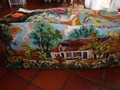 enorme pouf en recyclage de canevas vintage : Textiles et tapis par chiffonsboutique