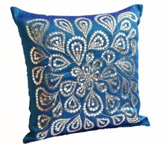 blue decorative throw pillow covers with silver sequins dazzling pillow cover handmade throw pillows