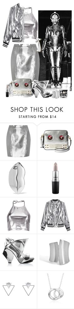 """Robot Look: Metallic Fashion"" by allyssister ❤ liked on Polyvore featuring Yves Saint Laurent, FOSSIL, STELLA McCARTNEY, MAC Cosmetics, Boohoo, Sans Souci, Abcense, Eloquii, Blue Nile and Chanel"