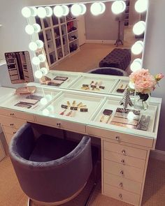 Home Impressions Vanity Makeup Vanity SlayStation Tabletop Vanity Set Up, Make Up Desk Vanity, Makeup Vanity Mirror With Lights, Makeup Table Vanity, Vanity Room, Diy Vanity Table, Makeup Vanities, White Vanity Desk With Lights, Bathroom Vanities