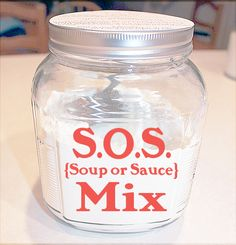 Soup or sauce mix recipe. Great idea!  Ingredients  2 cups powdered non-fat dry milk 3/4 cup cornstarch 1/4 cup instant chicken bouillon (regular or low sodium) 2 Tbsp dried onion flakes 2 tsp Italian seasoning (optional)