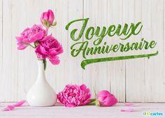 Carte anniversaire fleurs de pivoines Happy Birthday, Birthday Cake, Sabbats, Happy Moments, 25th Anniversary, Place Card Holders, Messages, Gifts, Recherche Google