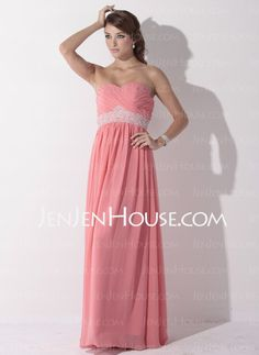 Prom Dresses - $128.49 - Empire Sweetheart Floor-Length Chiffon  Charmeuse Prom Dresses With Ruffle  Beading (018005353) http://jenjenhouse.com/Empire-Sweetheart-Floor-length-Chiffon--Charmeuse-Prom-Dresses-With-Ruffle--Beading-018005353-g5353