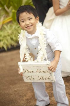 White ring bearer's lei, Created by Passion Roots, Hawaii Wedding Florist.  www.passionroots.com