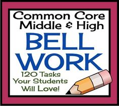 These bell ringers/ bell work/ class starters are an excellent way to motivate your students, manage your classroom, and assess student understanding of many the grade 7-9 ELA Common Core standards!  The resource also includes some fun puzzles, video journals, and more.