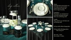 Deep Allure is just one of the many options of Pre Designed packages available at www.StageRightRentals.com. Priced per table including delivery ( within Kelowna) , set up and take down! Serving the Okanagan Valley.