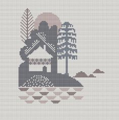 Danish Island Cabin Cross Stitch Pattern PDF by WallflowerCushions, $5.00