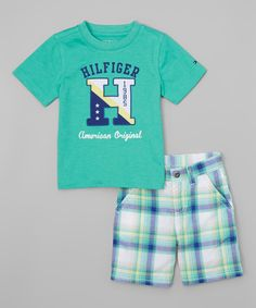 Another great find on #zulily! Tommy Hilfiger Emerald 'Hilfiger' Tee & Plaid Shorts - Infant & Toddler by Tommy Hilfiger #zulilyfinds