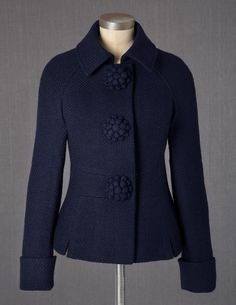 Navy floral button jacket.