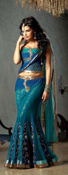 indian bride TURQUOISE BLUE NET BASE LEHENGA CHOLI WITH DUPATTA I sooo want to wear this!