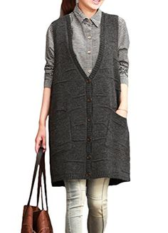 Minibee Women Pullover V Neck Sweater Vest Waistcoat Style 2 Dark Gray *** Read more reviews of the product by visiting the link on the image.