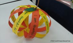 Harvest Party fun, each strip saying what they are thankful for or what their goals are.