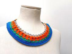 Crochet Chain Necklace Choker  Color Block Statement by ixela, $32.00