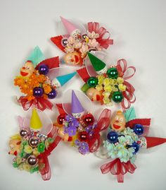 Birthday Party Favors Spun Cotton Clown Vintage Corsages by meaicp,