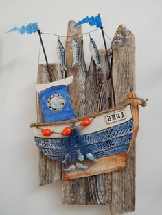 ceramic & driftwood wall hanging by Gail Trezise ceramic artist