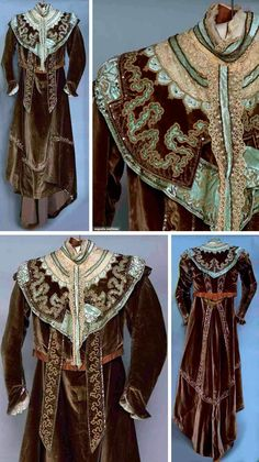 Two-piece dress, Stammler & Jeanne, Paris, 1898. Brown silk velvet skirt & bodice trimmed with beaded & sequined aqua velvet and cream lace. Augusta Auctions