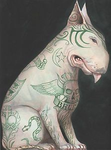 Tattooed English Bull Terrier by Dominic Murphy
